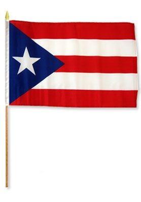 """Bandera de  Puerto Rico 12"""" x 18"""" en tela"""